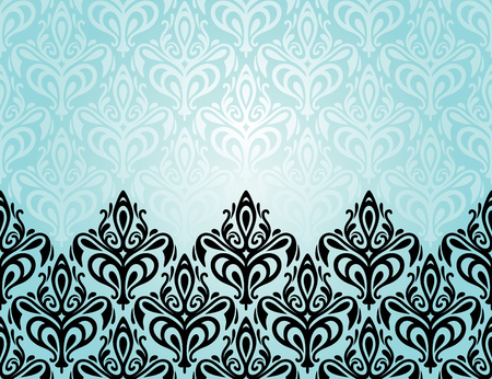 Turquoise decoratieve vakantie achtergrond met zwarte ornamenten Stock Illustratie