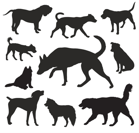 sniffing: Dog  Silhouettes vector set Illustration