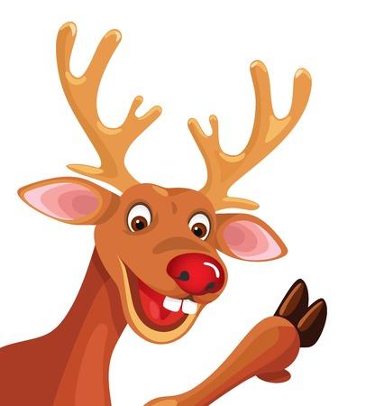 コーナーで幸せな漫画ルドルフ クリスマス トナカイ