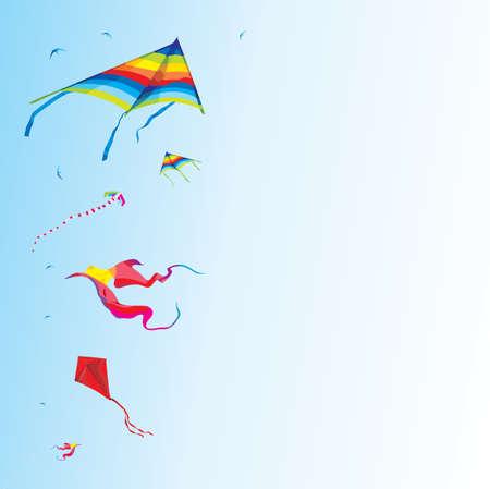 Kites flying on blue sky - festival holiday background