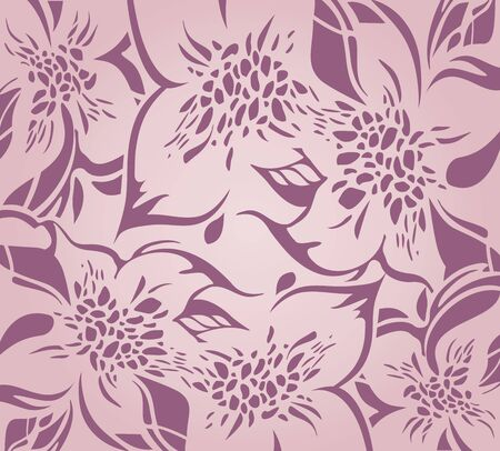 Pink floral decorative holiday background with floral ornaments Illustration