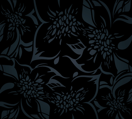 Black floral holiday background with decorative ornaments