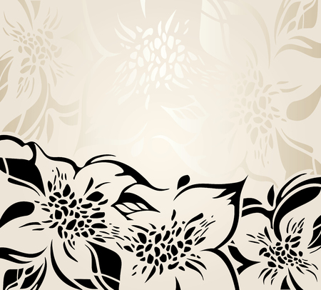 ornaments floral: Ecru floral decorative holiday background with black ornaments
