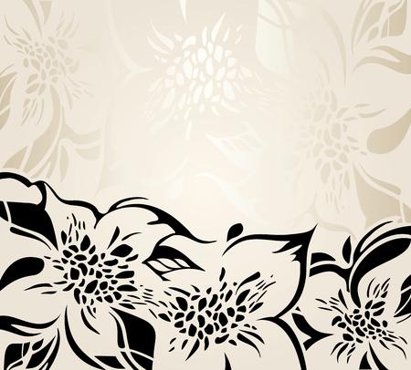 ecru: Ecru floral decorative holiday background with black ornaments