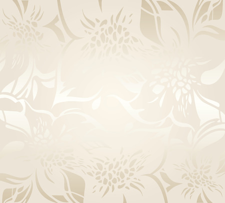 ecru: Ecru floral holiday background with decorative ornaments