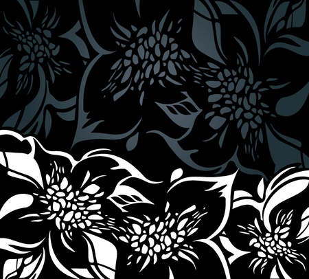 ornaments floral: Black floral holiday background with white decorative ornaments