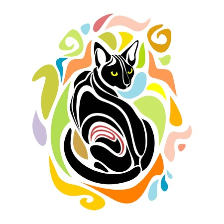 pussy cat: Black Cat Vector Decorative creative colorful graphic design Illustration