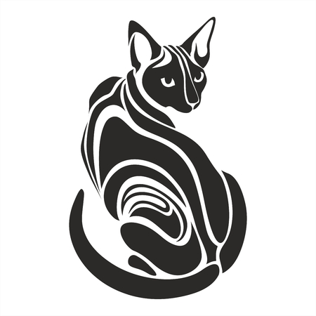 Egyptian Sphynx Black cat dangerous evil looking tattoo vector drawing