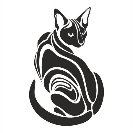 Egyptische Sphynx Zwarte kat gevaarlijk slecht uitziende tattoo vector tekening