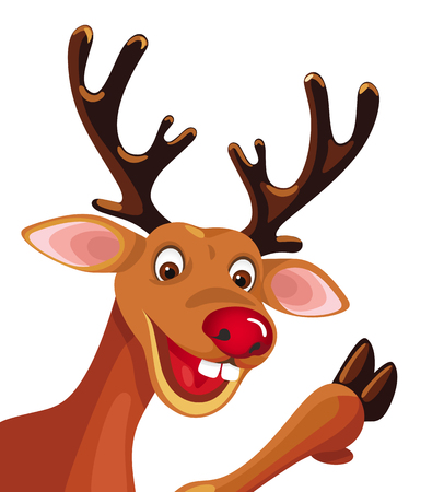 frohe: Rudolf  reindeer isolated in the corner of white background