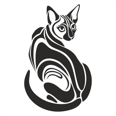 koty: Czarny kot egipski niebezpieczne poszukuje grafika tatuaż rysunek