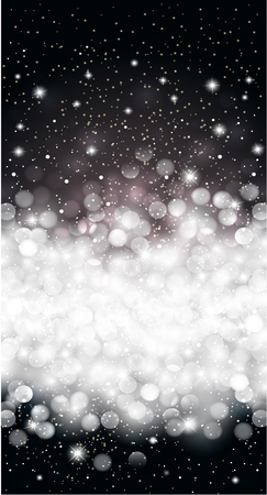 new year background: Black shiny winter christmas snowflake card background