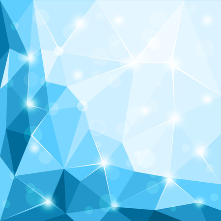 3 d glasses: Abstract polygonal geometric facet shiny blue background wallpaper illustration