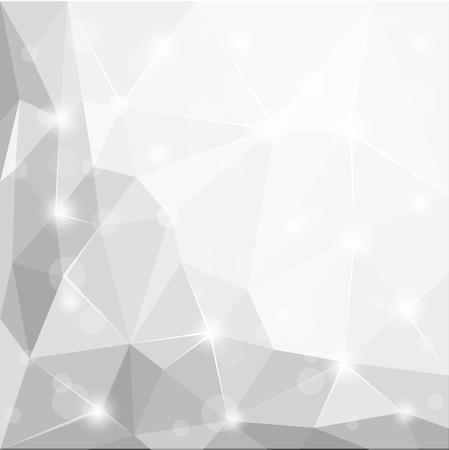 多角形の幾何学的な面の光沢のある白、グレー、シルバーを抽象的な背景の壁紙イラスト