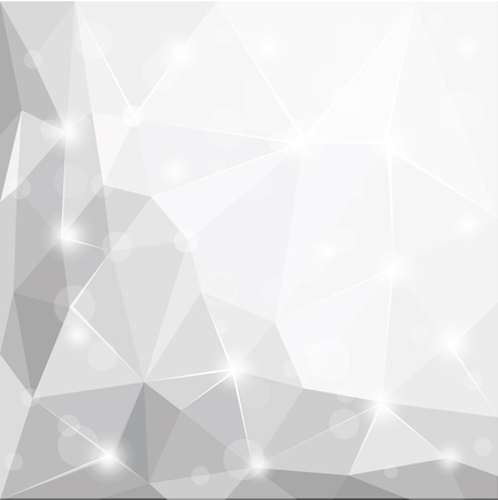 Abstract polygonal geometric facet shiny white, grey and silver background wallpaper illustration Illustration