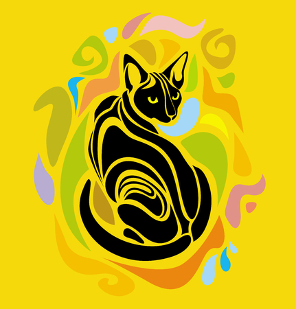 black: Vector Cat Colorful Cartoon Decorative stylized graphic design