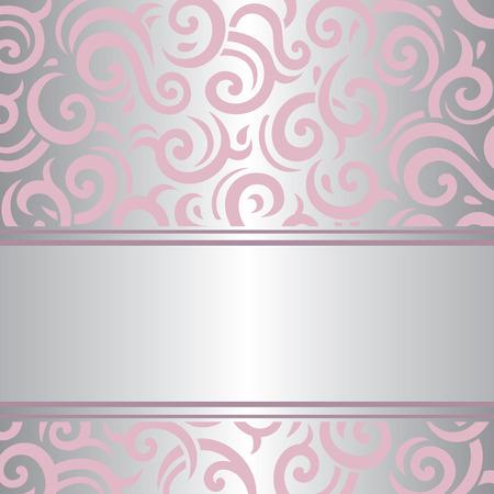 bijou: Pink  silver invitation vintage background retro vector wallpaper design
