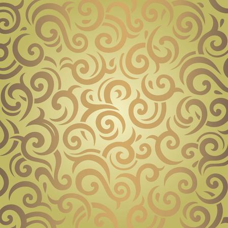retro wallpaper: Green  brown vintage wallpaper retro pattern design Illustration