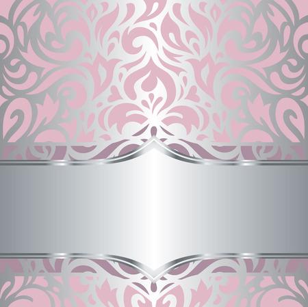 フローラル ピンク銀光沢のある招待状ヴィンテージ レトロなベクター装飾的な壁紙デザイン  イラスト・ベクター素材