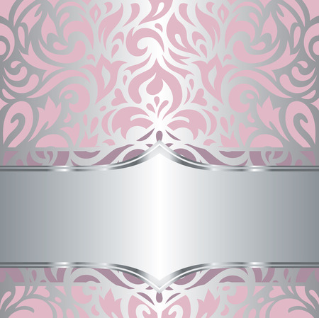Floral pink  silver shiny invitation vintage retro vector decorative wallpaper design