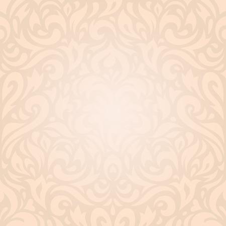 bijou: Retro wedding floral Ecru beige holiday vintage invitation background wallpaper design