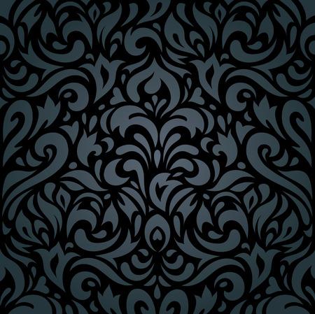gold frame: Floral Black luxury vintage retro background design Illustration