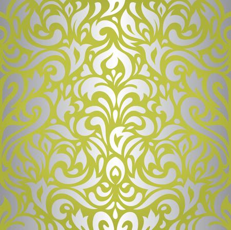 Bloemen groene zilveren vintage retro behang ontwerpen achtergrond Stock Illustratie