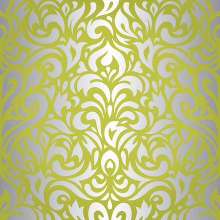 Floral green  silver vintage retro wallpaper design background