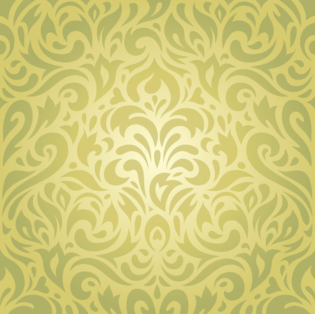 decorative wallpaper: Floral green vintage decorative holiday retro wallpaper vector background design