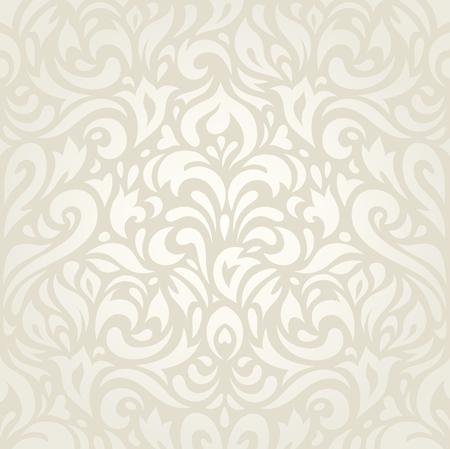 ビンテージ花柄ベージュ壁紙背景の装飾的なデザインの結婚式  イラスト・ベクター素材