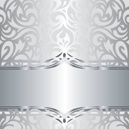 holiday invitation: Shiny silver floral decorative holiday vintage invitation wallpaper background design