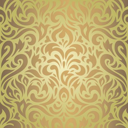 green brown: Floral green  brown vintage wallpaper retro background design