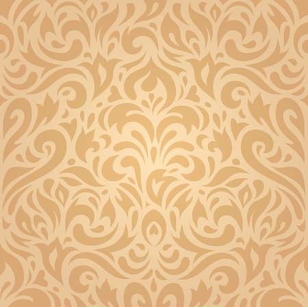pale ocher: Floral retro ocher vintage decorative background wallpaper design
