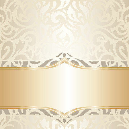 decorative wallpaper: Wedding vintage wallpaper decorative design white  gold vector Illustration