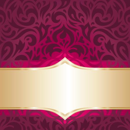 gold floral: floral red and gold  luxury vintage decorative invitation wallpaper background design