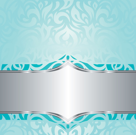 Retro floral blue green Turquoise  silver holiday vintage invitation background design Ilustrace