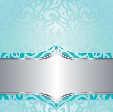 blue green background: Retro floral blue green Turquoise  silver holiday vintage invitation background design Illustration
