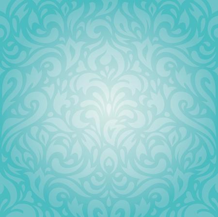 Retro floral Turquoise holiday vintage invitation background wallpaper design Çizim