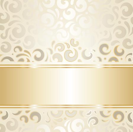 ecru: Retro wedding background wallpaper design ecru  gold