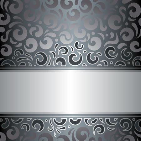 holiday invitation: Silver luxury vintage invitation holiday design vector