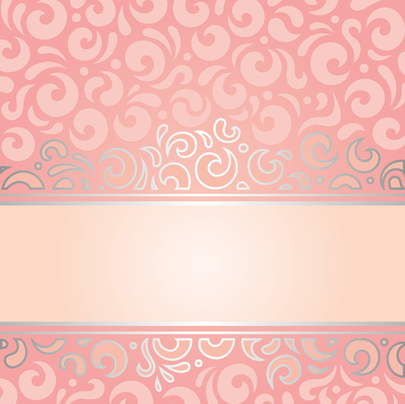 Retro decorative pink  silver invitation background vintage wallpaper design Illustration