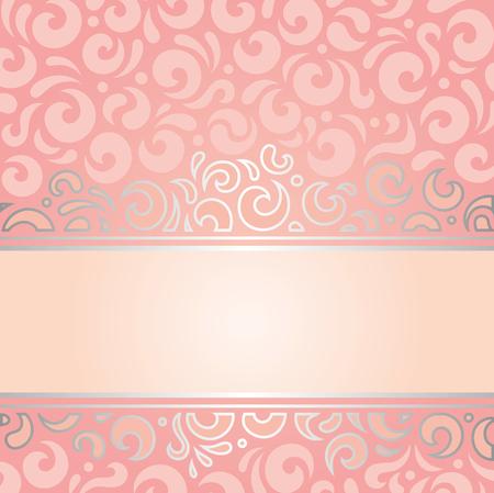 vintage design: Retro decorative pink  silver invitation background vintage wallpaper design Illustration