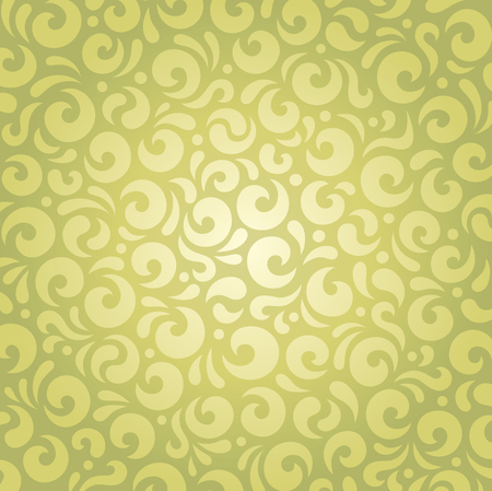 Retro green vintage wallpaper pattern decorative vector design Illustration