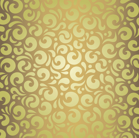 Decorative green  brown retro vintage wallpaper design