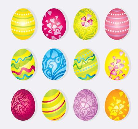 Vector colorful set of painted cartoon holiday easter eggs  isolated on white