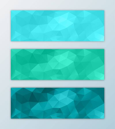 Website banner template set abstract triangle polygon background decorative design in green and blue