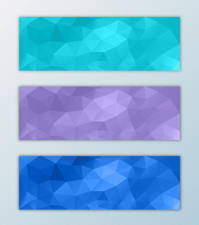 triangular: Website header banner template set with triangle polygon background decorative design