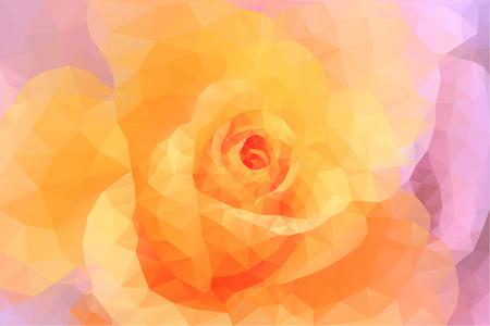 ピンクと黄色の三角形ポリゴン花カラフルな背景を抽象化します。  イラスト・ベクター素材