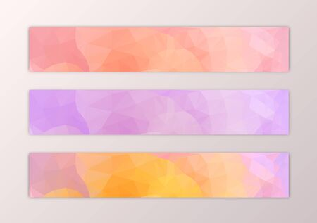 Website banner template set with abstract triangle polygon background in pink yelow orange