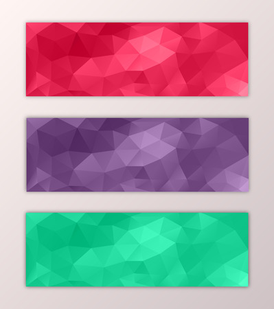 Website banner template set with abstract triangle polygon colorful background design